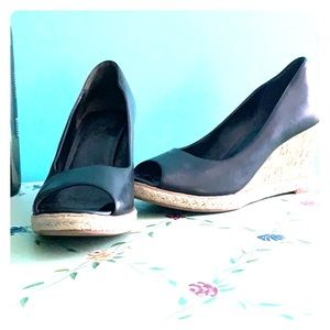 Cole Haan black leather wedge